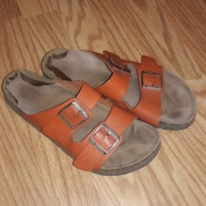 Birkenstock orange leather 41 double strap unisex